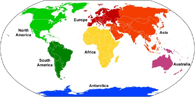Kıta Kıta göre DÜnya'da İngilizce Konuşan Ülkeler
